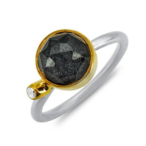 Δαχτυλίδι Mε Απατίτη Από Δίχρωμο Ασήμι DX859