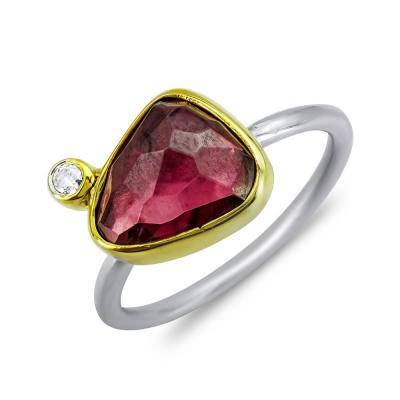 Δαχτυλίδι Mε Γρανάτη Από Δίχρωμο Ασήμι DX861