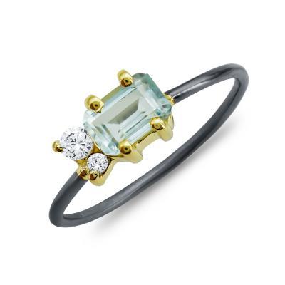 Δαχτυλίδι Mε Βlue Topaz από Δίχρωμο Ασήμι DX841