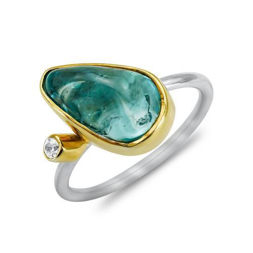 Δαχτυλίδι Mε Blue Topaz από Δίχρωμο Ασήμι DX845