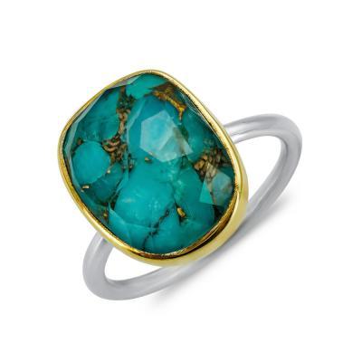Δαχτυλίδι Μονόπετρο Mε Τιρκουάζ Copper Από Δίχρωμο Ασήμι DX851
