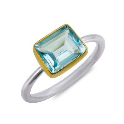 Δαχτυλίδι Mε Βlue Topaz από Δίχρωμο Ασήμι DX842