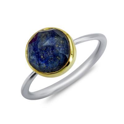 Δαχτυλίδι Μονόπετρο Mε Λάπι Από Δίχρωμο Ασήμι DX863