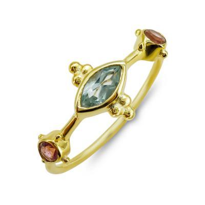 Δαχτυλίδι Mε Βlue Topaz Kαι Τουρμαλίνη από Επιχρυσωμένο Ασήμι DX843
