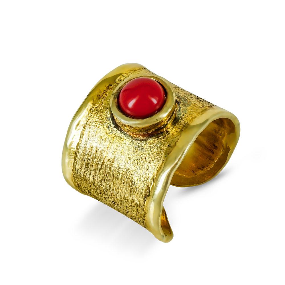 Δαχτυλίδι Σεβαλιέ Με Κοραλί Πέτρα από Επιχρυσωμένο Ασήμι DX702
