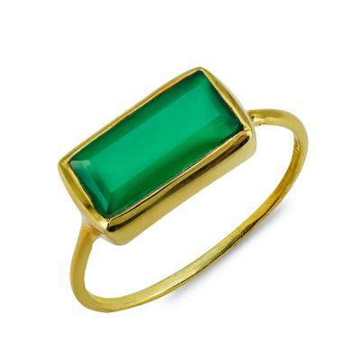 Δαχτυλίδι Mε Πράσινο Χαλκηδόνιο Από Επιχρυσωμένο Ασήμι DX857