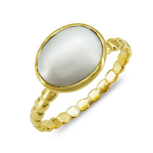 Δαχτυλίδι Μονόπετρο Mε Φυσικό Μαργαριτάρι Από Επιχρυσωμένο Ασήμι DX854