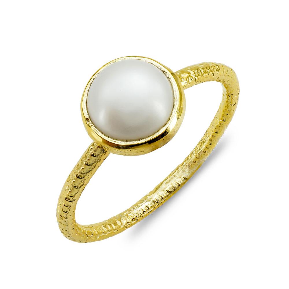 Δαχτυλίδι Μονόπετρο Mε Φυσικό Μαργαριτάρι Από Επιχρυσωμένο Ασήμι DX848