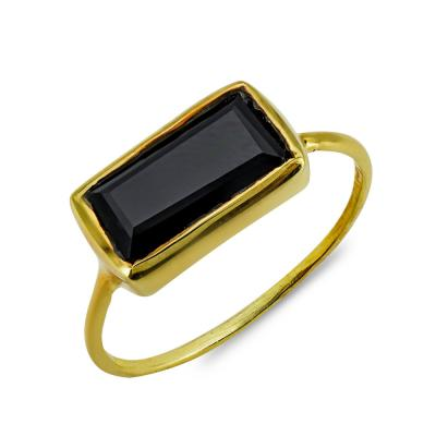 Δαχτυλίδι Mε Μαύρο Όνυχα Από Επιχρυσωμένο Ασήμι DX855