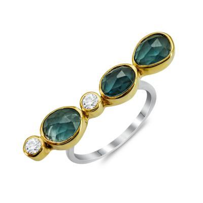 Δαχτυλίδι Mε London Topaz από Δίχρωμο Ασήμι DX844