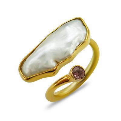 Δαχτυλίδι Mε Φυσικό Μαργαριτάρι από Επιχρυσωμένο Ασήμι DX847