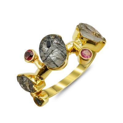 Δαχτυλίδι Mε Ρουτίλιο από Επιχρυσωμένο Ασήμι DX839