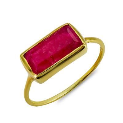 Δαχτυλίδι Mε Ρουμπίνι Από Επιχρυσωμένο Ασήμι DX856