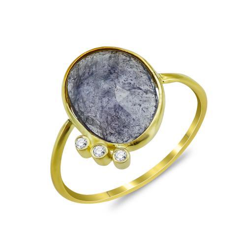 Δαχτυλίδι Mε Τανζανίτη Από Επιχρυσωμένο Ασήμι DX858