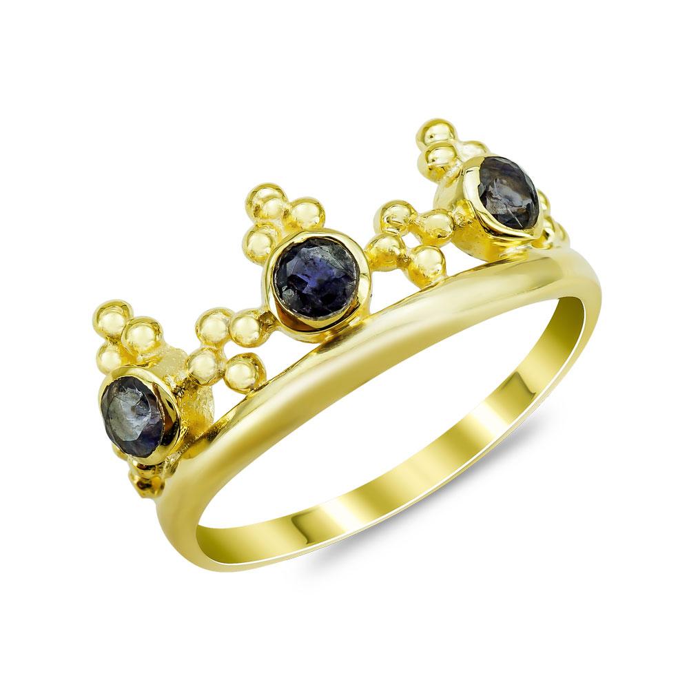 Δαχτυλίδι Mε Ιολίτη από Επιχρυσωμένο Ασήμι DX860