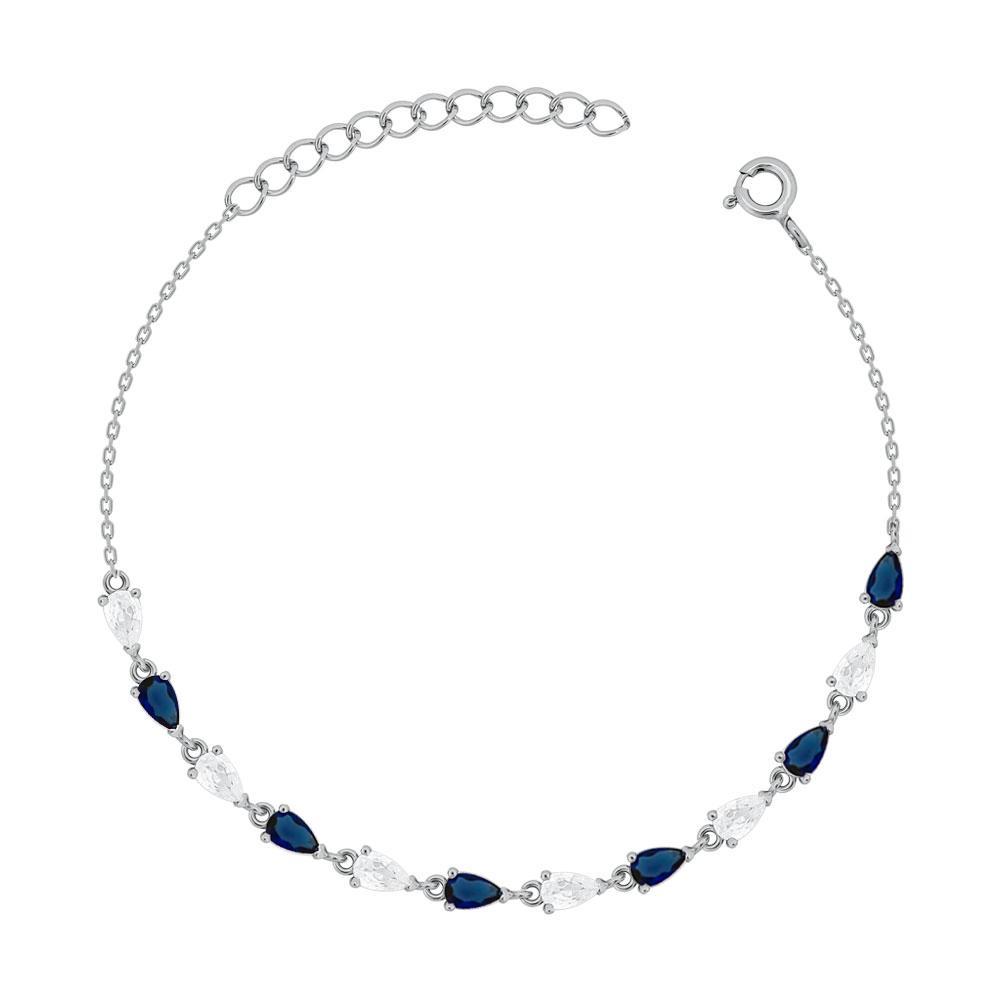 Bραχιόλι με Μπλε Πέτρες από Ασήμι VR754