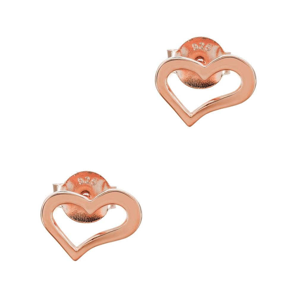 Παιδικά Σκουλαρίκια Καρδούλα από Ροζ Επιχρυσωμένο Ασήμι PSK457