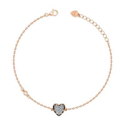 Bραχιόλι Με Καρδούλα Από Ροζ Επιχρυσωμένο Ασήμι VR716