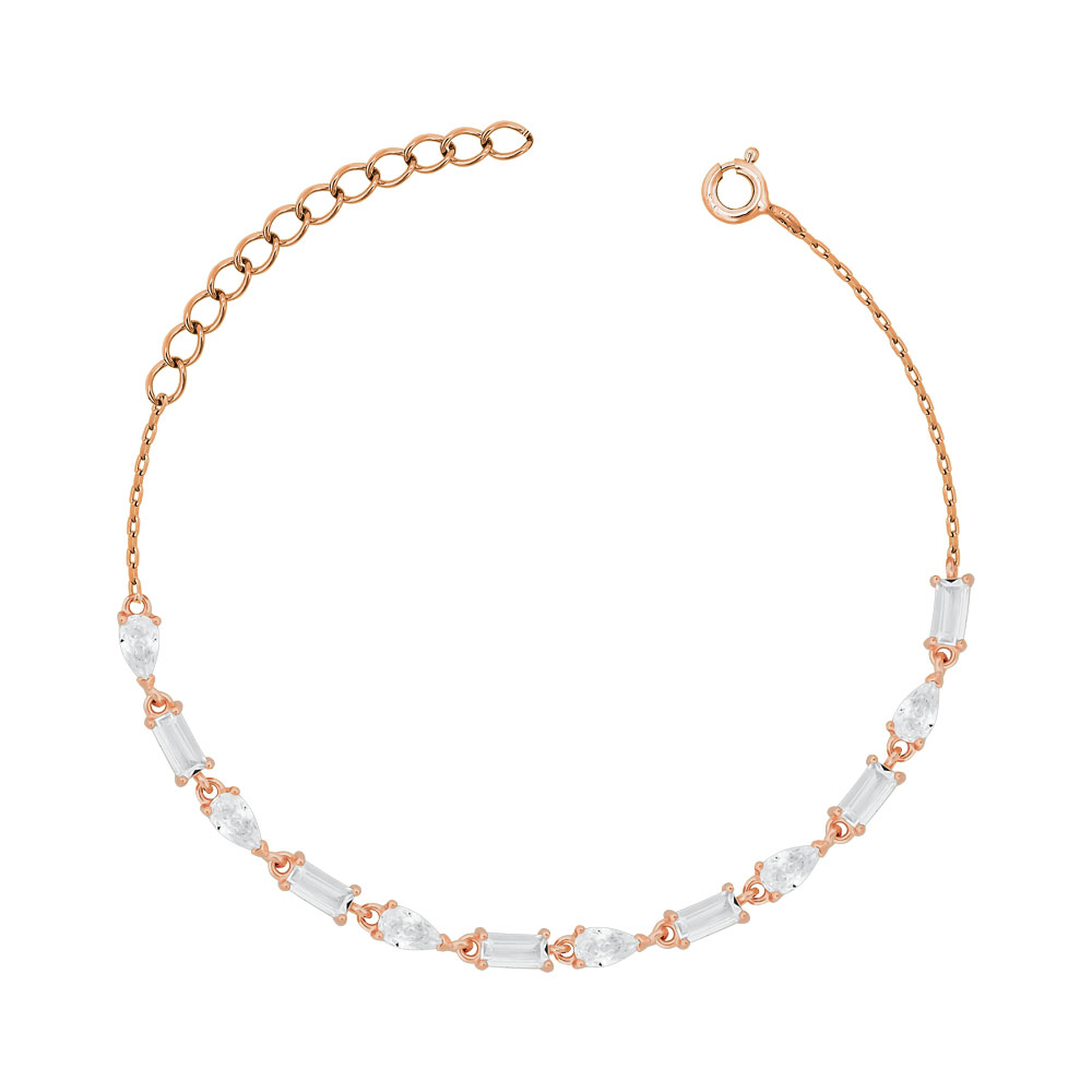 Bραχιόλι με Πέτρες από Ροζ Επιχρυσωμένο Ασήμι VR770