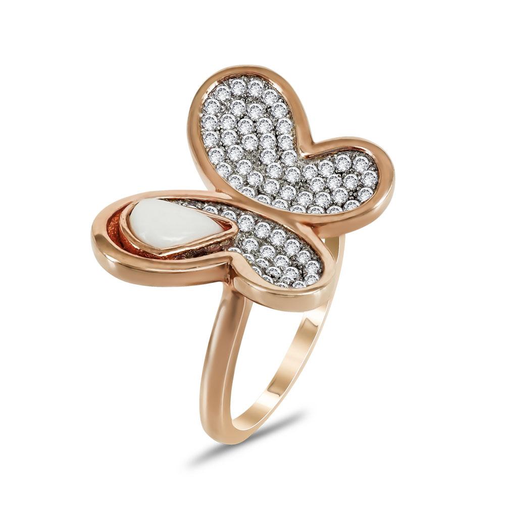 Jools Δαχτυλίδι Πεταλούδα από Ροζ Επιχρυσωμένο Ασήμι JR248