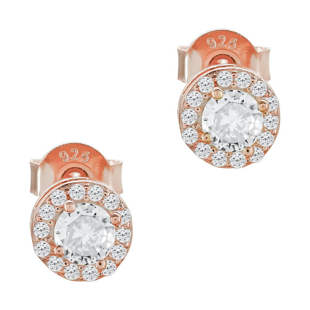 Σκουλαρίκια Με Πέτρες Από Ροζ Επιχρυσωμένο Ασήμι SK1110
