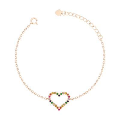 Bραχιόλι Με Καρδούλα Από Ροζ Επιχρυσωμένο Ασήμι VR715