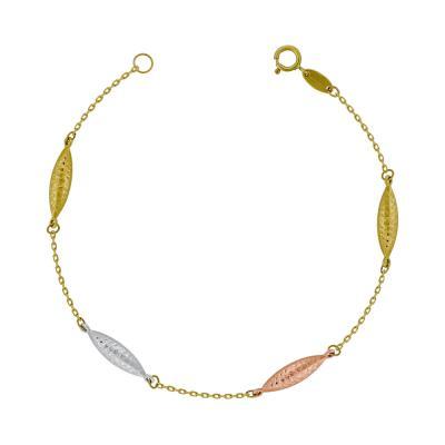 Bραχιόλι από Τρίχρωμο Χρυσό Κ14 VR773