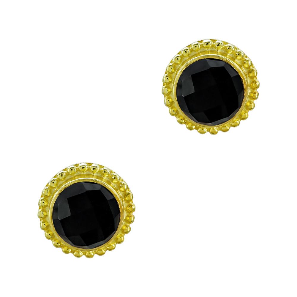 Χειροποίητα Σκουλαρίκια με Μαύρο Όνυχα Aπό Επιχρυσωμένο Ασήμι SK1161