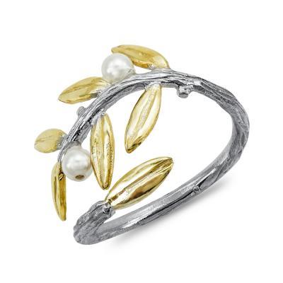 Χειροποίητο Δαχτυλίδι με Μαργαριτάρι από Δίχρωμο Ασήμι DX865
