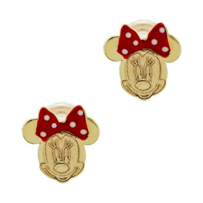 Παιδικά Σκουλαρίκια Μίνι Μαούς Aπό Κίτρινο Χρυσό Κ14 PSK446