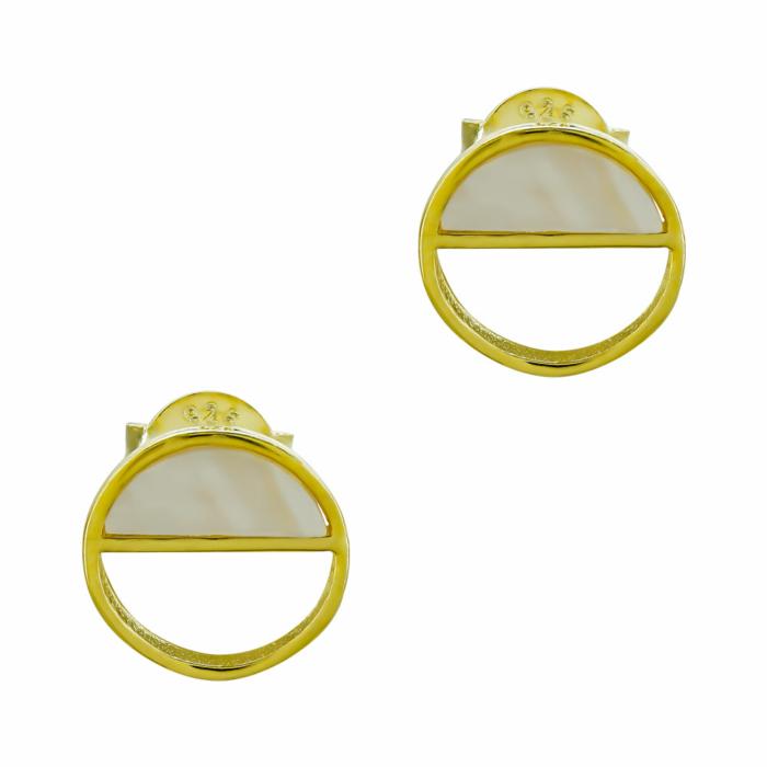 Σκουλαρίκια Κύκλος Από Επιχρυσωμένο Ασήμι SK1156