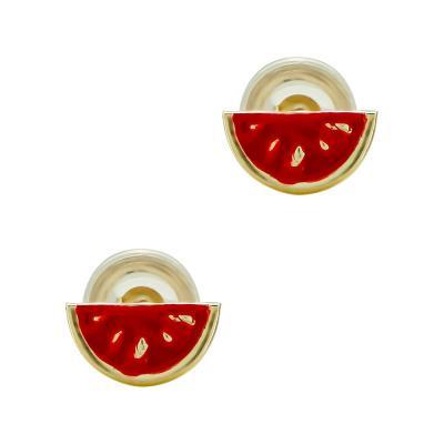 Παιδικά Σκουλαρίκια Καρπούζι Aπό Κίτρινο Χρυσό Κ9 PSK451