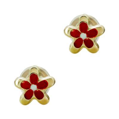 Παιδικά Σκουλαρίκια Λουλουδάκια Aπό Κίτρινο Χρυσό Κ9 PSK453