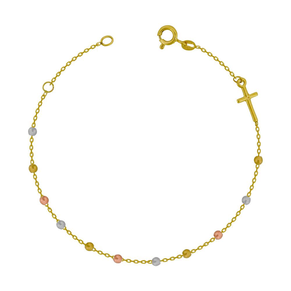 Bραχιόλι με Σταυρουδάκι από Τρίχρωμο Χρυσό Κ14 VR775