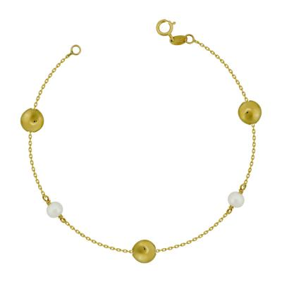 Bραχιόλι με Μαργαριτάρι από Κίτρινο Χρυσό Κ14 VR776