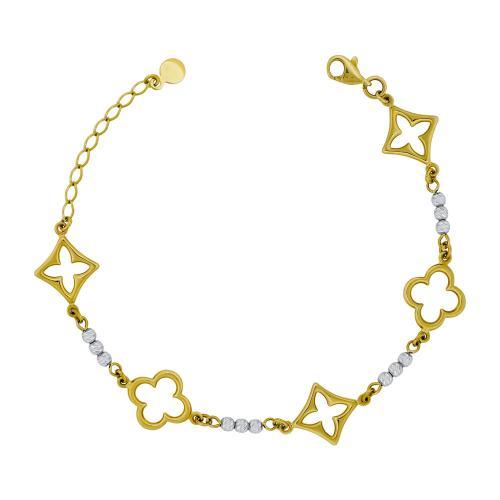 Bραχιόλι Με Σταυρουδάκια από Δίχρωμο Χρυσό Κ14 VR784