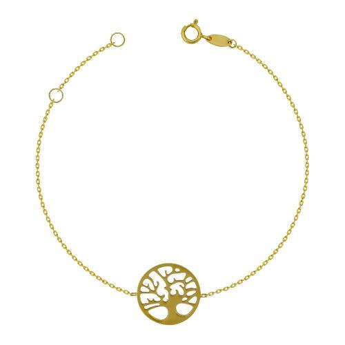 Bραχιόλι με Το Δέντρο Της Ζωής από Kίτρινο Χρυσό Κ14 VR781