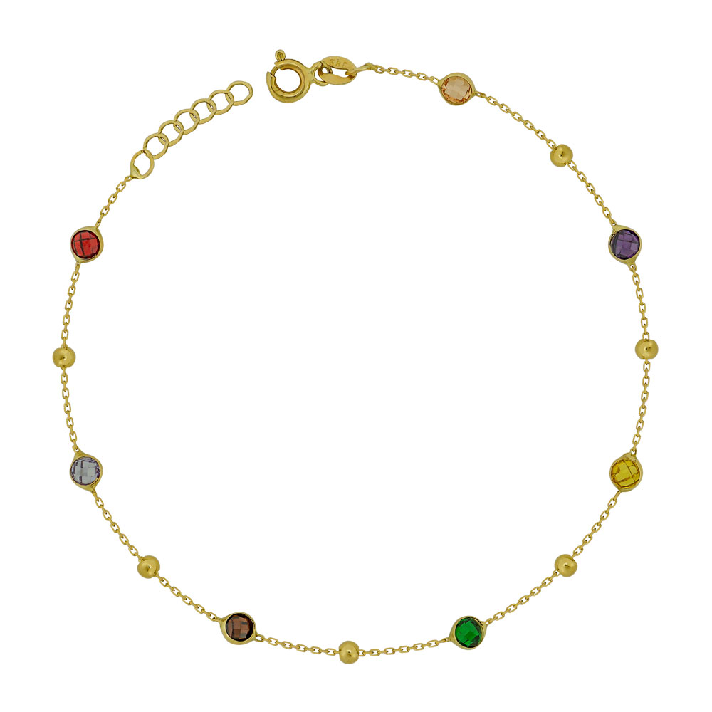 Bραχιόλι με Χρωματιστές Πέτρες από Kίτρινο Χρυσό Κ14 VR774