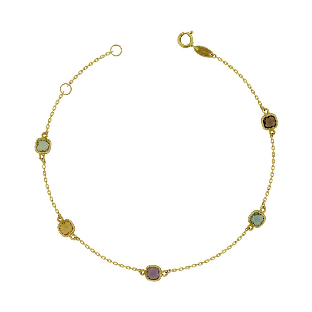 Bραχιόλι με Χρωματιστές Πέτρες από Κίτρινο Χρυσό Κ14 VR778