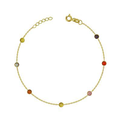 Bραχιόλι Με Χρωματιστές Πέτρες από Κίτρινο Χρυσό Κ14 VR785