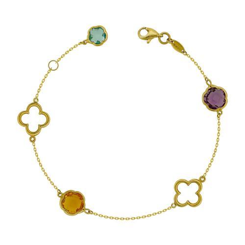 Bραχιόλι Με Χρωματιστές Πέτρες από Κίτρινο Χρυσό Κ14 VR787