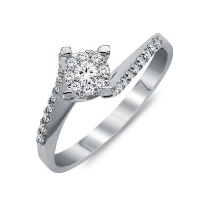 Μονόπετρο Δαχτυλίδι Με Διαμάντια Brilliant από Λευκό Χρυσό Κ18 R25933