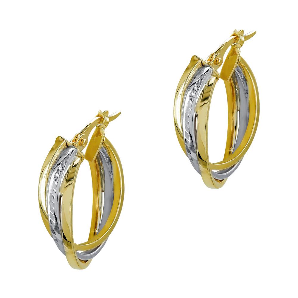Σκουλαρίκια Κρίκοι από Δίχρωμο Χρυσό Κ14 SK1205