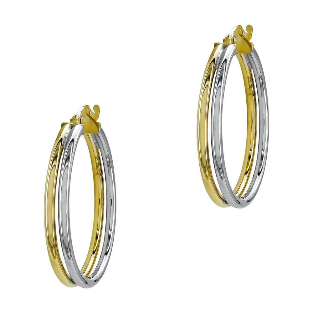 Σκουλαρίκια Κρίκοι από Δίχρωμο Χρυσό Κ14 SK1209