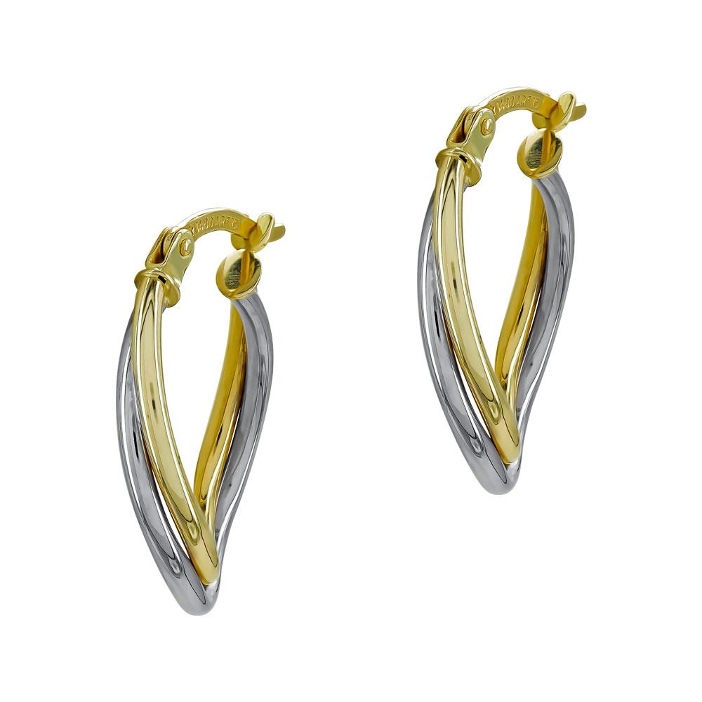 Σκουλαρίκια Κρίκοι από Δίχρωμο Χρυσό Κ14 SK1215
