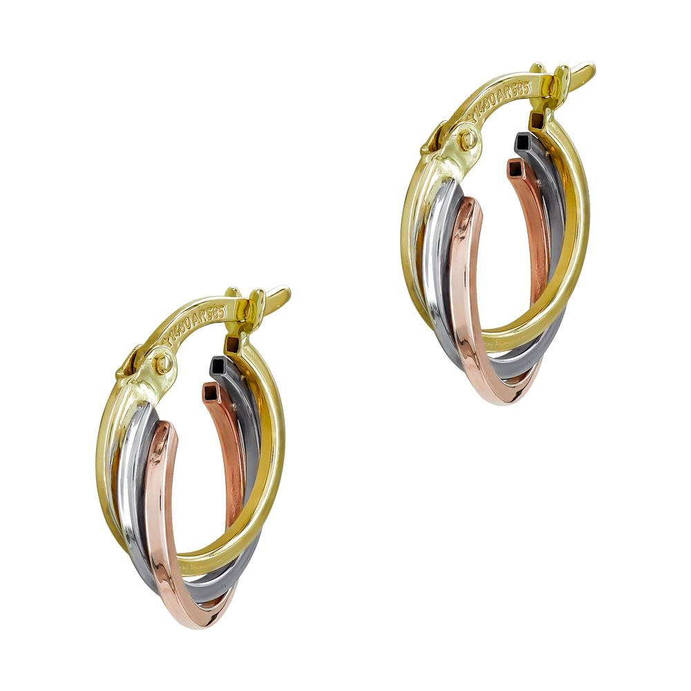 Σκουλαρίκια Κρίκοι από Τρίχρωμο Χρυσό Κ14 SK1219