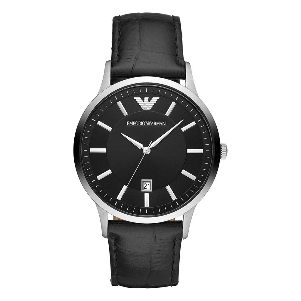 EMPORIO ARMANI Renato Black Leather Strap AR11186