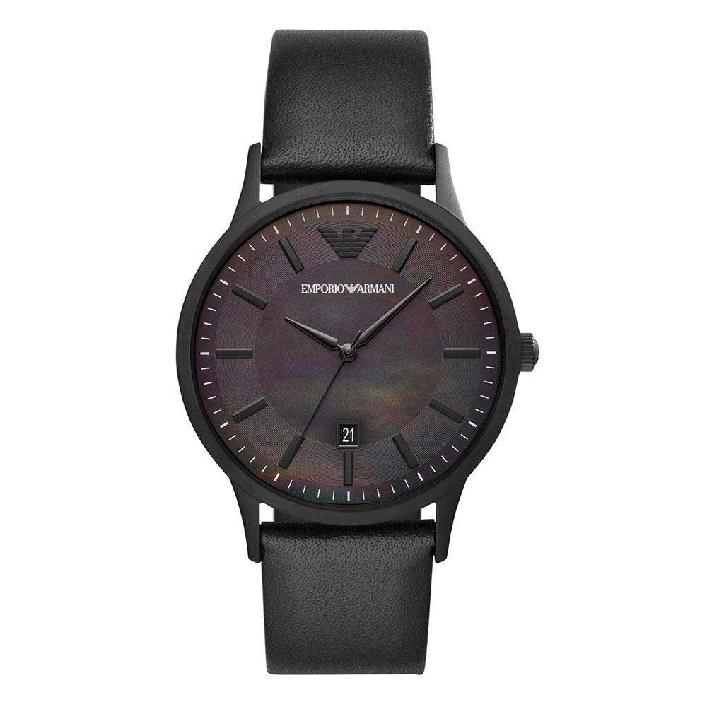EMPORIO ARMANI Renato Black Leather Strap AR11276