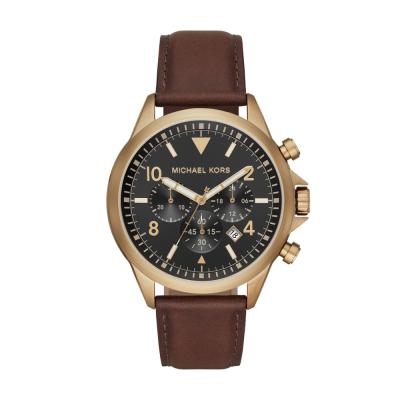 Michael KORS Gage Brown Leather Strap MK8785
