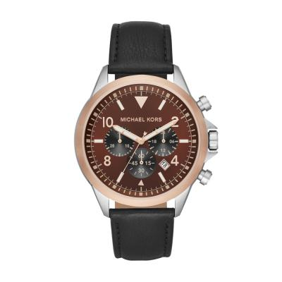 Michael KORS Gage Black Leather Strap MK8786